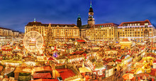 Dresden Christmas Market, View From Above, Germany, Europe. Christmas Markets Is Traditional European Winter Vacation Activities In December. Circled Carousel, Stalls And People Choosing Presents.