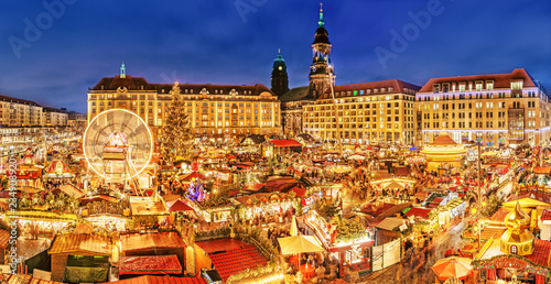 Photo  Dresden Christmas market, view from above, Germany, Europe