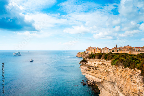 Photo Stands Ship Ville Haute, the old town of Bonifacio, France.