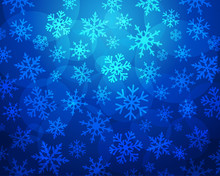 Blue Snowflakes On Sapphire Background. Snowflake Line Christmas Frost On Navy Blue Background For Xmas Greeting Card Or New Year Banner