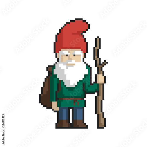 Foto op Aluminium Pixel Dwarf pixel art on white background. Vector illustration.