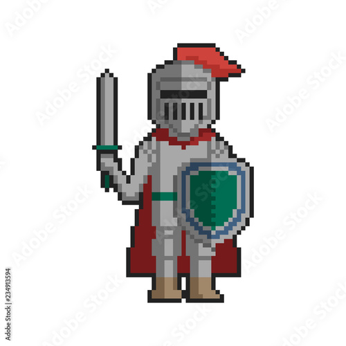 Knight Pixel Art On White Background Vector Illustration Buy