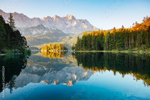 Photo Stands Lake Scenic surroundings near famous lake Eibsee.