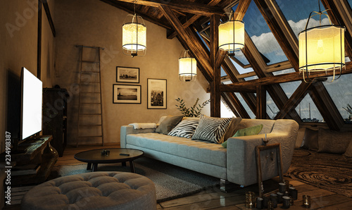 Gemutliches Wohnzimmer Im Dachgeschoss Mit Leuchtenden Design Lampen