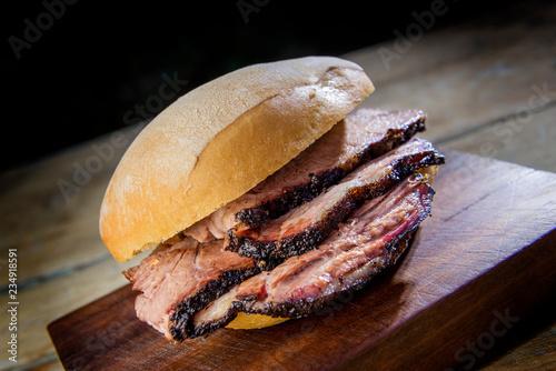 Brisket Sandwich on cutting board