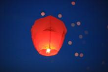 Beautiful Chinese Lantern Purple On A Blue Sky Background.