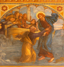PRAGUE, CZECH REPUBLIC - OCTOBER 13, 2018:  The Fresco  Peter, Walking On Water Toward Jesus  In Church Kostel Svatého Václava By S. G. Rudl (1900).