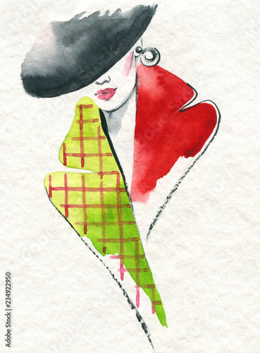 style coat. beautiful woman. fashion illustration. watercolor painting