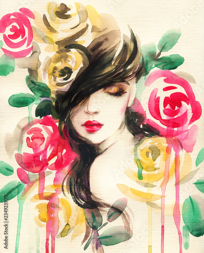 Poster Portrait Aquarelle beautiful woman. fantasy illustration. watercolor painting