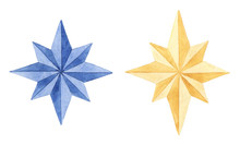 Collection Of  Watercolor Christmas Stars.