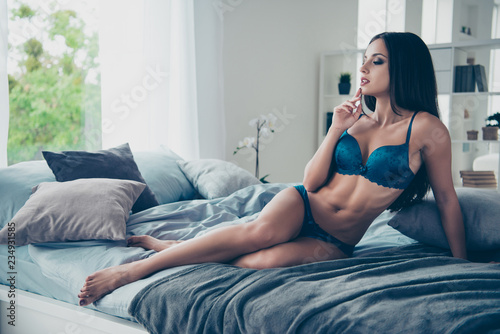 Full length legs body size portrait of gorgeous nice stunning ad Canvas Print