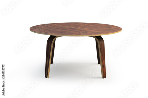 Stampa su Tela  Modern round wooden coffee table. 3d render