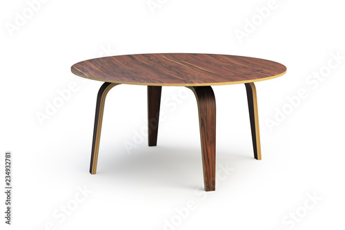 Foto  Modern round wooden coffee table. 3d render