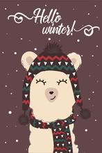 Winter Cute Llama In Scarf And Hat Hello Winter