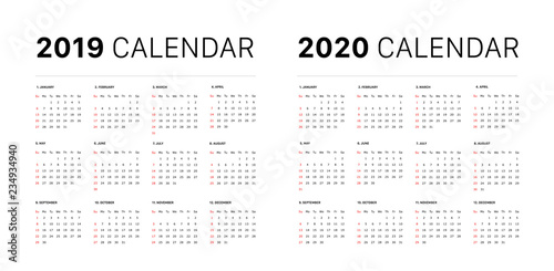 Fotografía 2019 calendar starting sunday Calendar 2019 and 2020 template