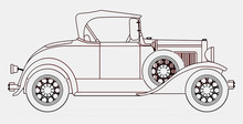 Early Motor Car Line Drawing