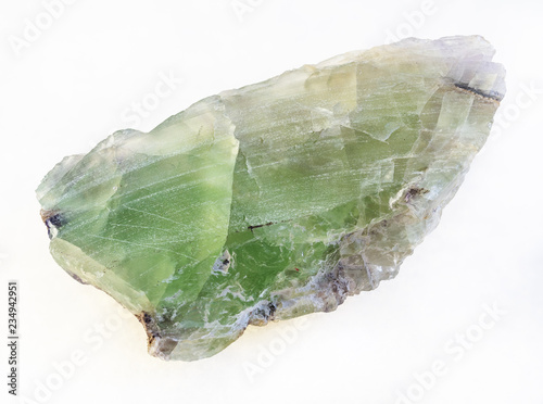 raw green Beryl crystal on white Canvas Print