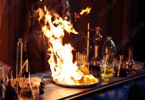 Explosion during the experiment. Unsuccessful experiment in the chemical laboratory.