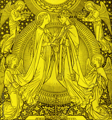 BRATISLAVA, SLOVAKIA, NOVEMBER - 21, 2016: The lithography of Coronation of Virgin Mary by unknown artist with the initials F.M.S (1885) and printed by Typis Friderici Pustet.