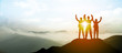 canvas print picture - Silhouette of Business team show arm up on top of the mountain. Leadership and success Concept.
