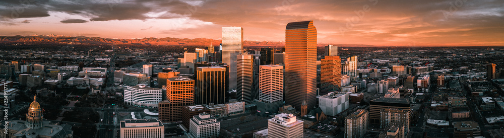 Fototapeta Aerial drone photo - Sunrise over the city of Denver Colorado