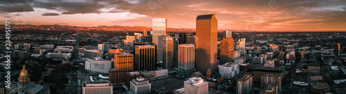 Aerial drone photo - Sunrise over the city of Denver Colorado