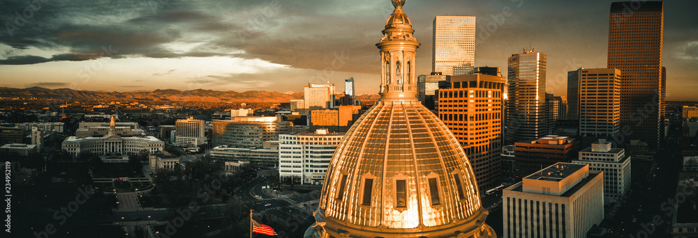 Fototapety, obrazy: Aerial drone photo - Sunrise over the golden Colorado State Capitol Building.  Denver