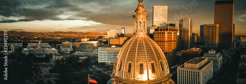 Fényképezés  Aerial drone photo - Sunrise over the golden Colorado State Capitol Building