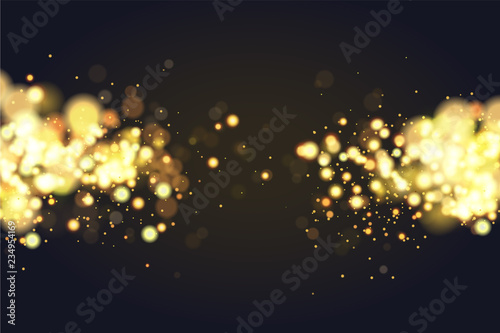 Fototapeta Abstract defocused circular golden bokeh sparkle glitter lights background. Magic christmas background. Elegant, shiny, metallic gold background. EPS 10. obraz na płótnie