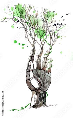 Deurstickers Schilderingen hand