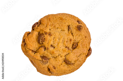 Staande foto Koekjes Fresh chocolate chip cookie isolated on white background