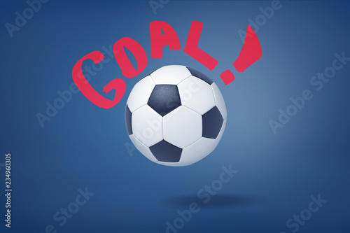 Valokuvatapetti 3d rendering of big football ball on a dark blue background with a red writing 'Goal ' around it
