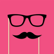 Moustache And Glasses Photo Booth Props. Vector Background With