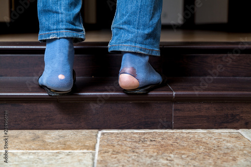 variety of designs and colors volume large new varieties Feet in jeans and holey socks go up stairs - Buy this stock ...
