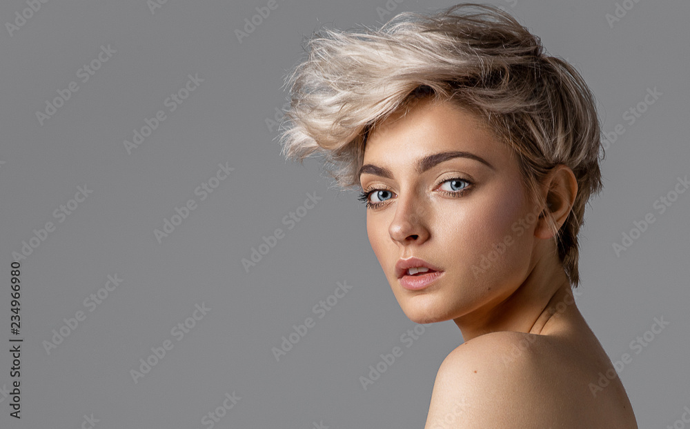 Fototapeta Beauty portrait of fashion young model with short hair