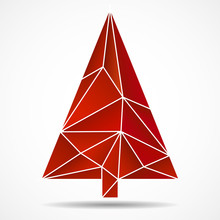Abstract Colorful Christmas Tree From Triangles. Geometric Style.