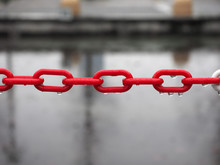Red Plastic Chain Selective Focus