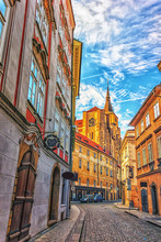The Church Of Saint Giles In A Narrow Street Of Prague, No Peopl