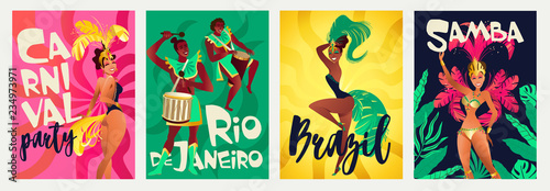 Photo Brazilian annual carnival festival celebrations realistic colorful posters set with traditional musical instruments costumes isolated vector illustration