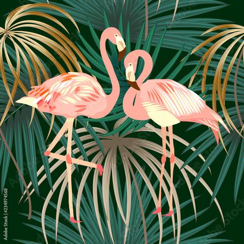 Seamless pattern of flamingo, leaves monstera. Tropical leaves of palm tree and flowers. © Artlu
