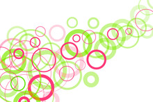 Green And Pink Circles On A White Abstract Background