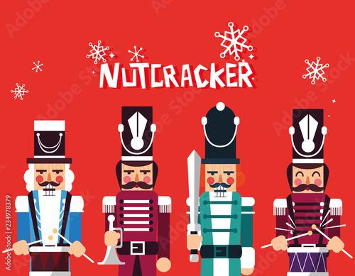 Fotografía  set of nutcracker toy isolated icon