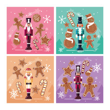 Set Of Nutcracker Toy Isolated...