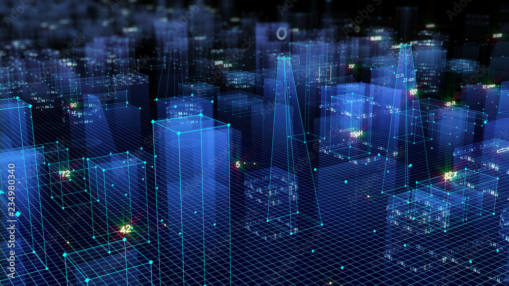 Fototapety, obrazy: 3D Rendering technological digital background consisting of a futuristic city with data