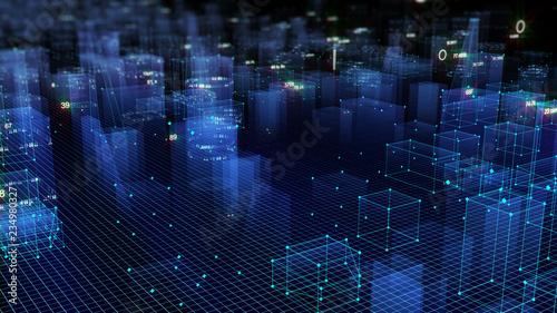 fototapeta na lodówkę 3D Rendering technological digital background consisting of a futuristic city with data