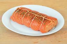 Preparing Stuffed Salmon