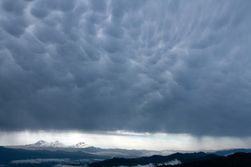 Three Sisters and Mammatus clouds, from Carpenter Mountain fire lookout, H.J. Andrews Experimental Forest, Willamette National Forest, Oregon, USA