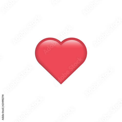 Red vector heart icon. Heart emoji. Heart sticker. Love symbol Valentine's Day. Element for design logo mobile app interface card or website