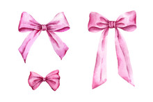 Hand Painted Pink Bows Isolate...