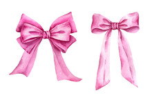 Hand Painted Pink Bows Isolated On White Background.